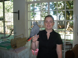 Fiona and Sam the parrot